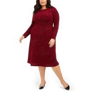 Alfani Twist-Waist Dress Wine Red Formal